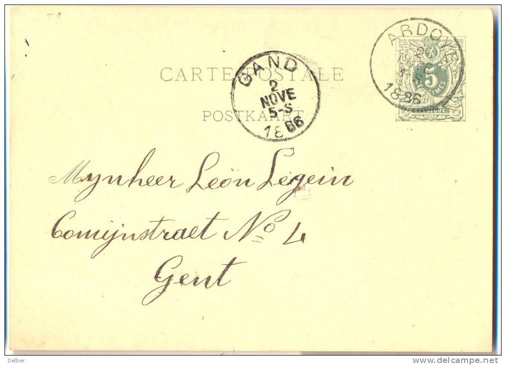 _B855: CARTE-POSTALE: 5centiemes: ARDOYE (E9) 1886 > GAND - Stamped Stationery