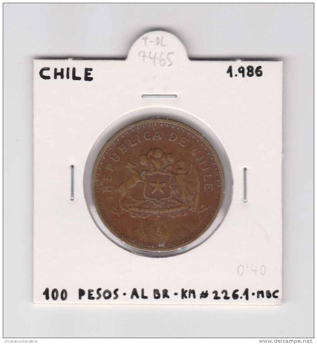 CHILE  100 PESOS  1.986  AL-BR  KM#226.1      MBC/VF    DL-7465 - Chile