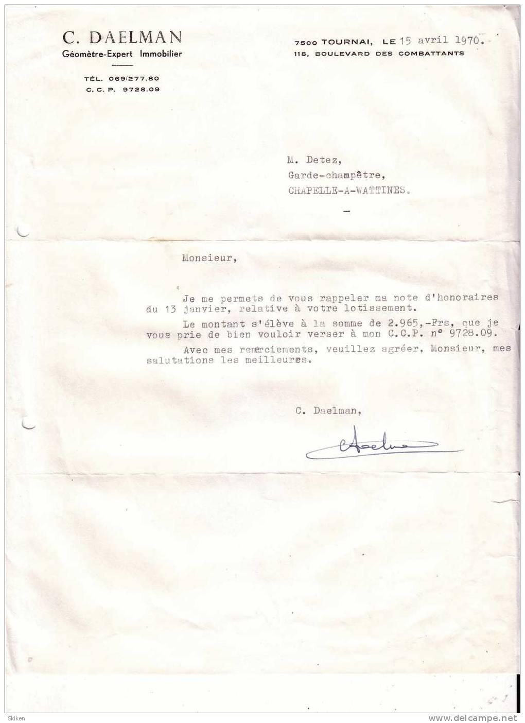 TOURNAI  C. DAELMAN  Geometre Expert Immobilier  15.04.1970 - Royaume-Uni