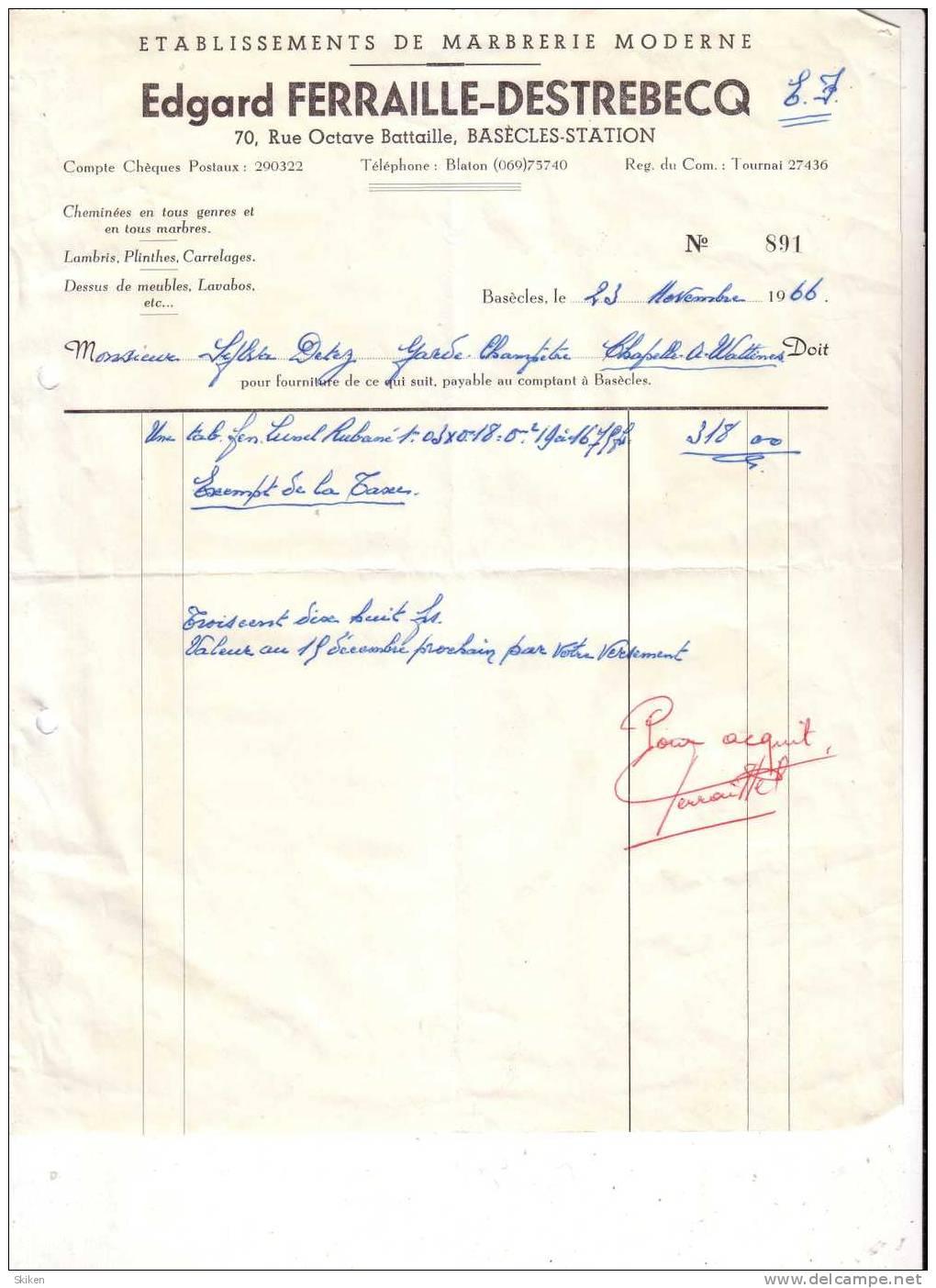 BASECLES STATION EDGARD FERRAILLE DESTREBECQ  Etablissements De Marbrerie Moderne  23.11.1966 - Belgique
