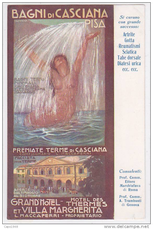 CARD BAGNI DI CASCIANA PUB. TERME FIRMATA BRIVIDO(PI)   -FG-V-2-  0882-7090 - Italy