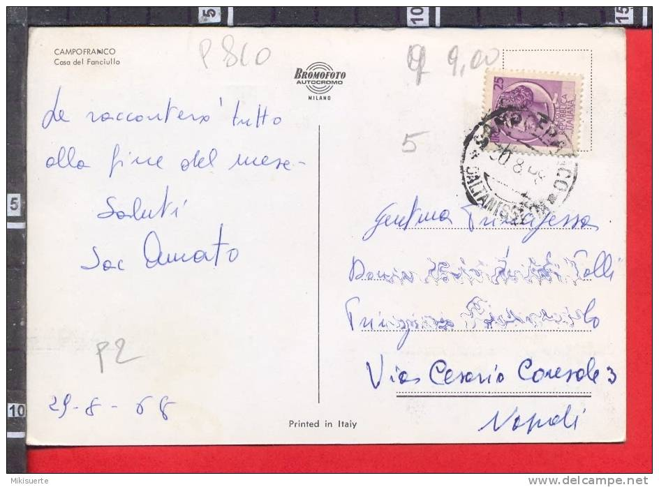 P810 CAMPOFRANCO CALTANISETTA CASA DEL FANCIULLO CARTOLINA BROMOFOTO VG - Caltanissetta