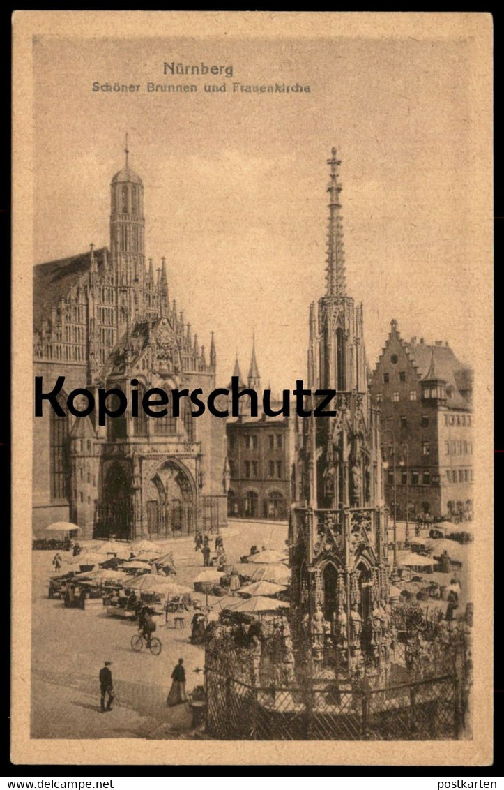ALTE POSTKARTE NÜRNBERG SCHÖNER BRUNNEN MIT FRAUENKIRCHE Kirche fountain fontaine church Ansichtskarte cpa postcard AK