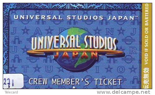 TICKET PASSPORT DISNEY Japon (271)  * JAPAN * PASS * UNIVERSAL STUDIOS *  CINEMA * FILM * MOVIE * KINO - Disney