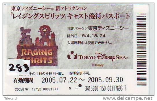 TICKET PASSPORT DISNEY Japon (283) RAGING SPIRITS * JAPAN * PASS * UNIVERSAL STUDIOS *  CINEMA * FILM * MOVIE * KINO - Disney