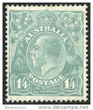 Australia #76a Mint Never Hinged 1sh4p Pale Turq Blue Scarce Perf 14 Geo V Of 1927 - 1913-36 George V: Heads