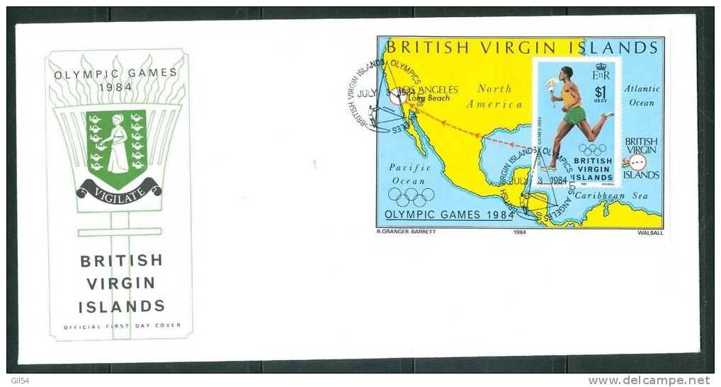 Fdc Virgin Islands ,olympic Games 1984 , 03/06/1984 , Bloc Feuillet  - Bb5916 - Iles Vièrges Britanniques