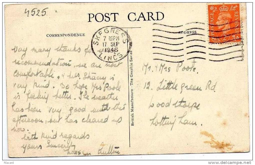 4525   United Kindom     The Waterways  And Pier  Skegness  VG 1946 - Non Classificati