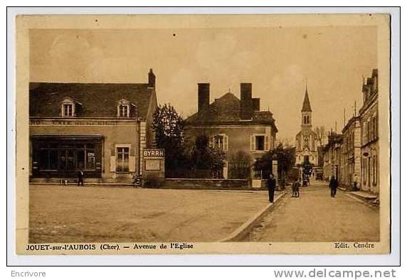 Cpa JOUET SUR AUBOIS Avenue De L´eglise Café BIGOT Byhr Picon Sortie De Messe  Ed Cendre - France