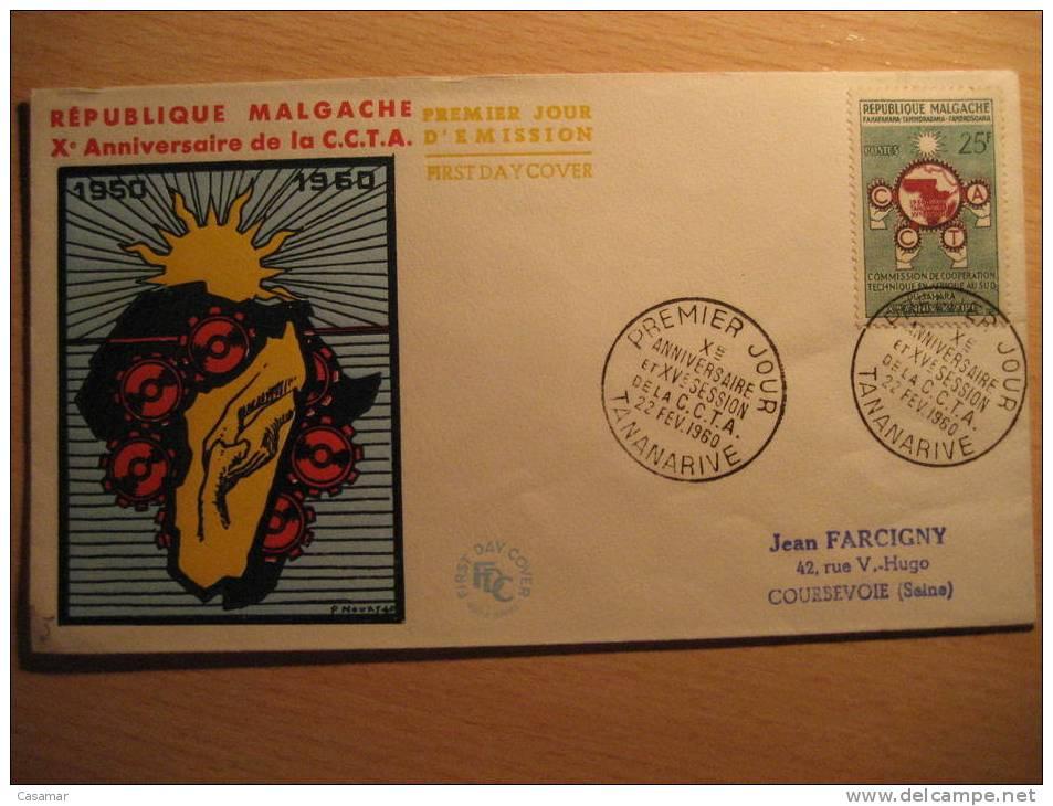 Republique MALGACHE 1960 Tananarive X Anniv C.C.T.A. XV Session SPD FDC Sobre Cover Lettre FRANCE - Madagascar (1960-...)