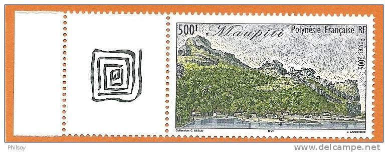 POLYNESIE FRANCAISE 766 YT ** L+vignette Centrale, Paysages Polynésiens, Maupiti 2006 - Unclassified