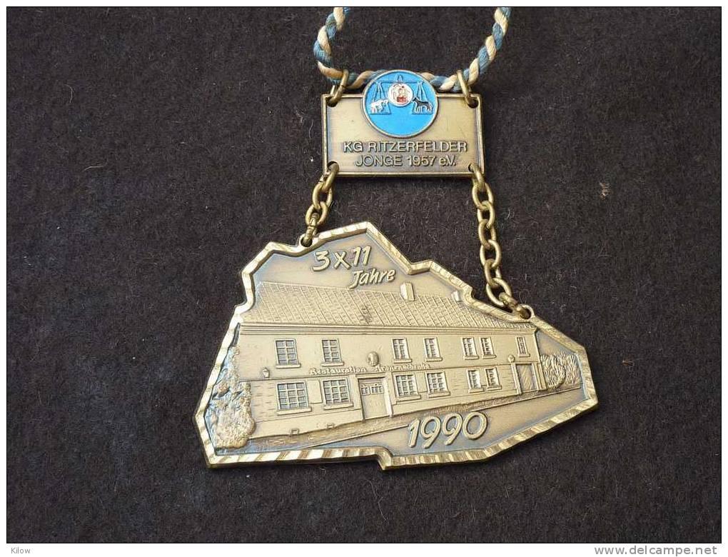 Jubiläums-Orden 1990 Der KG Ritzerfelder Jonge 1957 E.V. 3x11 Jahre - Carnaval