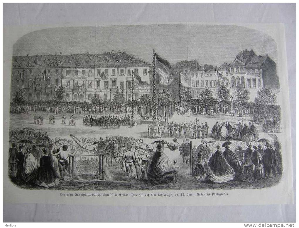 Krefeld - Crefeld -  Fest Auf Dem Karlsplatze  -  Gravure-engraving 1858  VF F37.29 - Estampes & Gravures