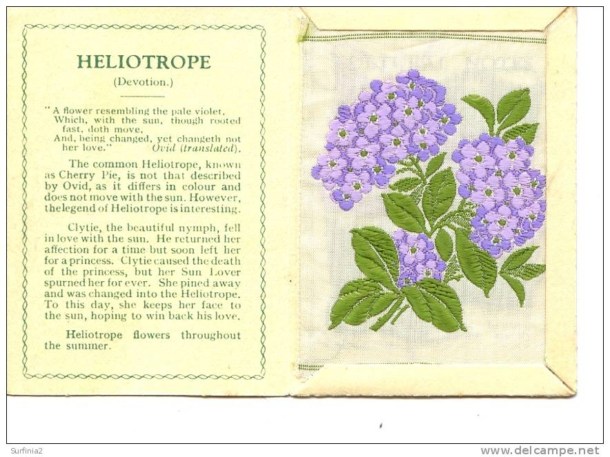 CIGARETTE CARDS - WIX - KENSITAS SILK FLOWERS - LARGE SIZE - HELIOTROPE 1934 - Other Collections
