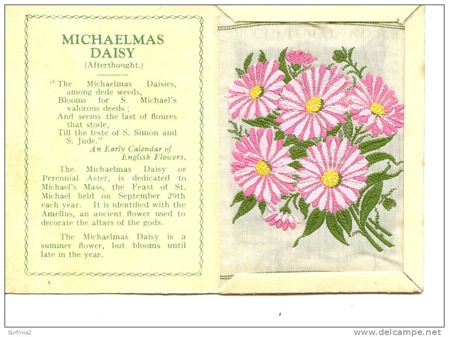 CIGARETTE CARDS - WIX - KENSITAS SILK FLOWERS - LARGE SIZE - MICHAELMAS DAISY 1934 - Unclassified