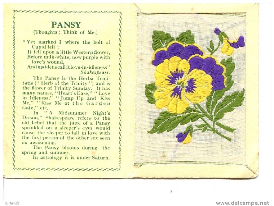 CIGARETTE CARDS - WIX - KENSITAS SILK FLOWERS - LARGE SIZE - PANSY 1934 - Other Collections