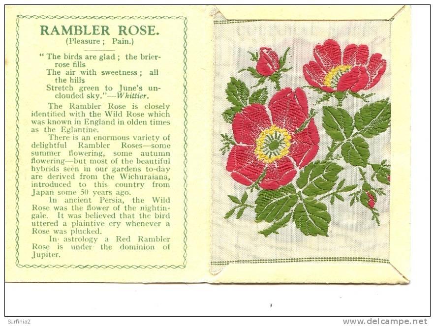 CIGARETTE CARDS - WIX - KENSITAS SILK FLOWERS - LARGE SIZE - RAMBLER ROSE 1934 - Cigarette Cards