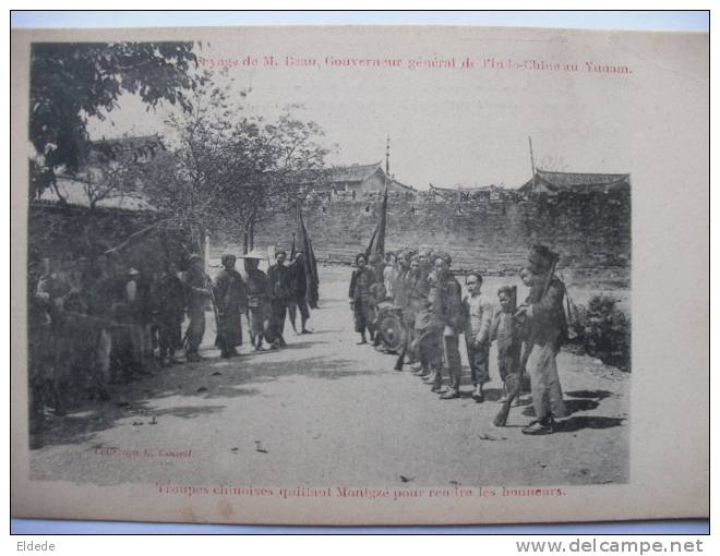 Voyage Mr Beau, Indochine Governor To Yunnan Chinese Troops In Mongtze, Small Crease - Chine