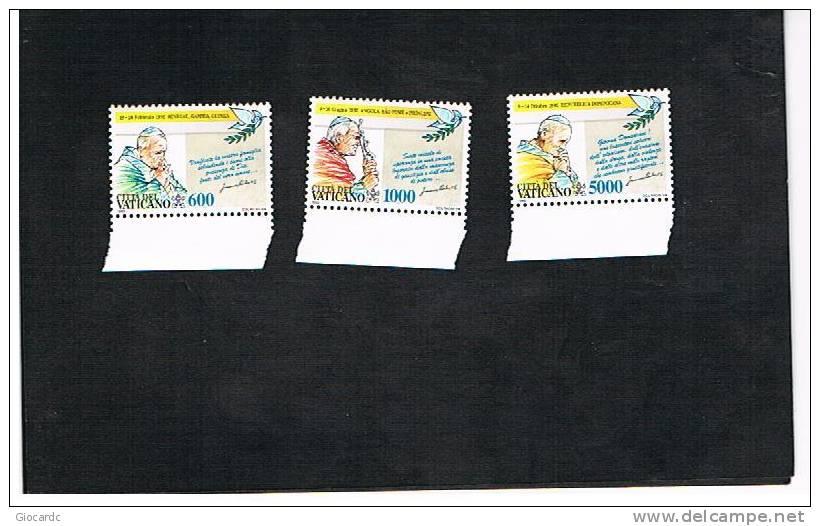 VATICANO - UNIF. 978.980 - 1993  I VIAGGI DI GIOVANNI PAOLO II NEL 1992     -  NUOVI  (MINT)** - Vaticano (Ciudad Del)