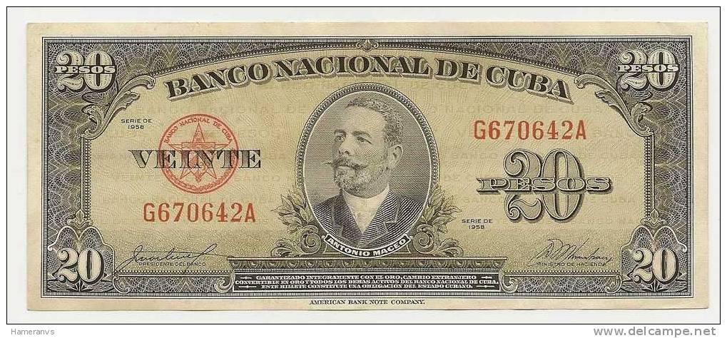 Cuba 20 Pesos 1958    P. 80b - SPL - Cuba