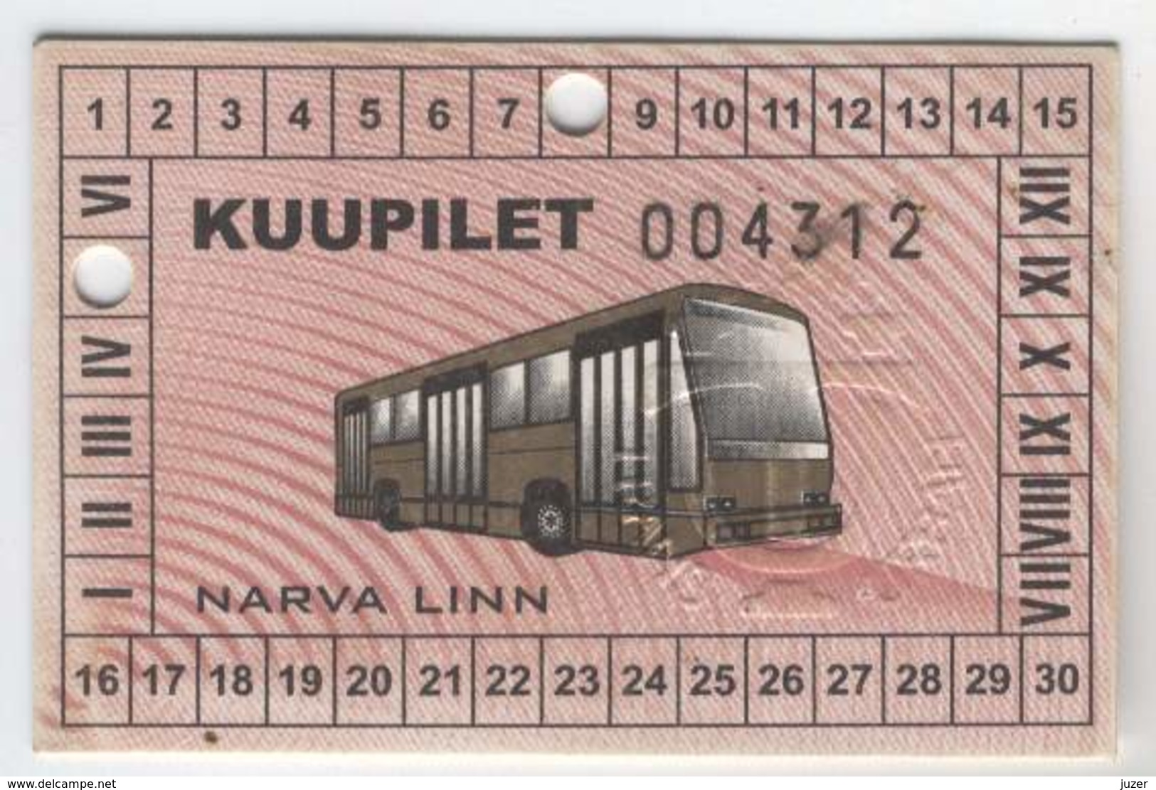 Estonia: Month Bus Ticket From Narva (6) - Season Ticket