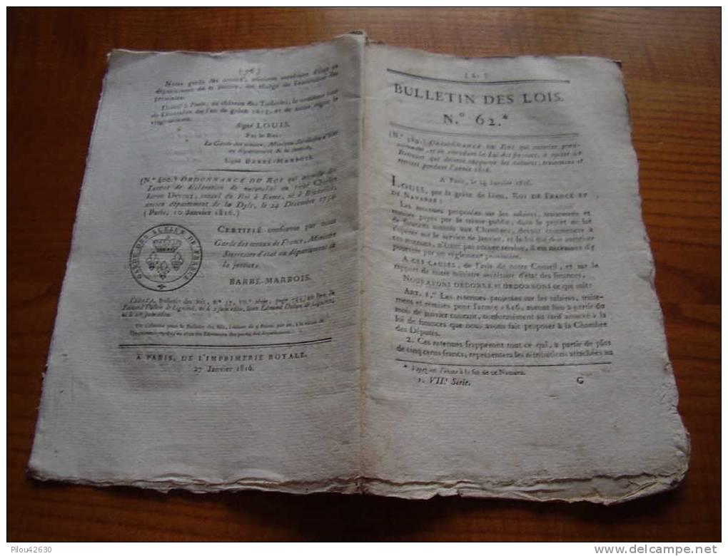 Bulletin Des Lois :dotation Et Administration De L´Hotel Royal Des Militaires Invalides , Commission Du Sceau..... - Documents Historiques