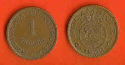 MOZAMBIQUE 1953/1974 1 Escudo Bronze KM82 #196 - Mozambique