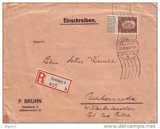 DR R-Brief Mif Minr.420 UR Walze, 413 Hamburg 23.11.29 - Deutschland