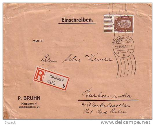 DR R-Brief Mif Minr.420 UR Walze, 413 Hamburg 23.11.29 - Briefe U. Dokumente