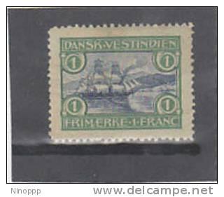 Danish West Indies-1905 St Thomas Harbor 1fr Green & Blue MH - Deens West-Indië