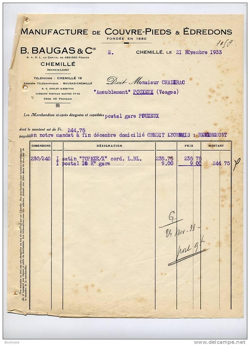 B BAUGAS Et Cie Couvre Pieds édredons CHEMILLE Maine Et Loire 1933 - France