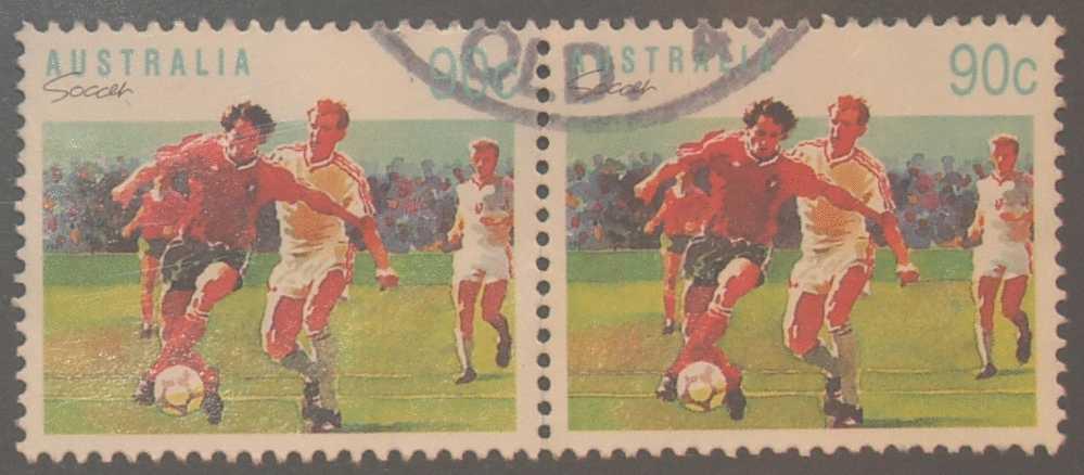 Australia 1989 Sports 90c Soccer Used Pair - 1980-89 Elizabeth II