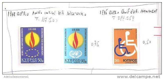 41134)francobolli Cipro Serie 1968 Anno Internaz. Diritto Dell'uomo E 1975 Conf. Europea Degli Handicap - Dentellati - Cipro