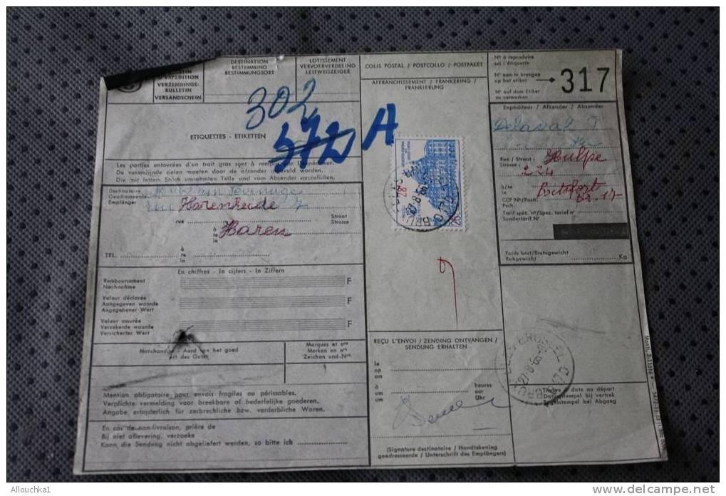Harem Bruxelles BELGIE  BELGIQUE VERZENDINGSBULLETIN VOOR POSTCOLLI BULETIN EXPEDITION COLIS POSTAUX  DOUANE DOGANA ZOLL - Brieven En Documenten