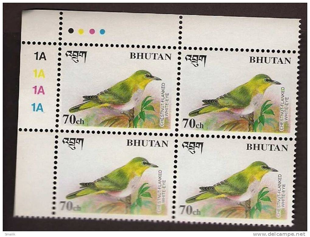 BHUTAN, Birds, Chestnut-Flanked White-Eye, 70ch Corner Block Of 4, MNH - Bhutan