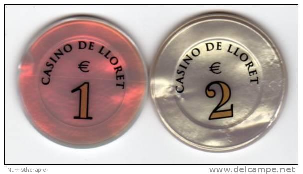 Spain Espagne : Jetons Chips Casino Lloret (de Mar) 1 & 2 Euro - Casino