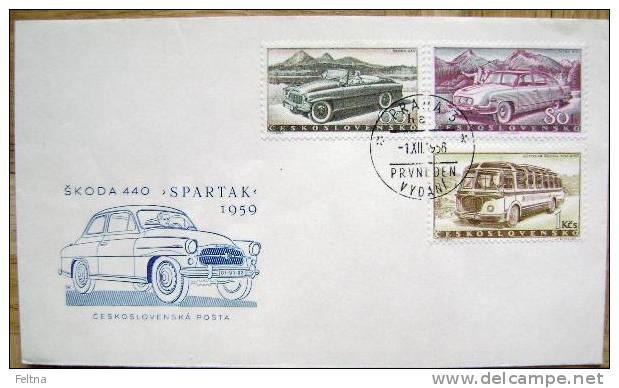 1956 CZECHOSLOVAKIA FDC SKODA CAR CARS TATRA BUS - Cars