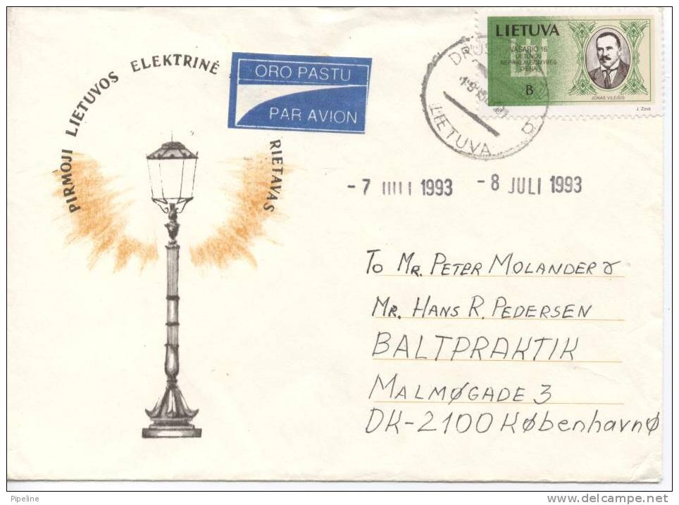 Lithuania Cover Cover Sent To Denmark1-9-1993 - Litauen