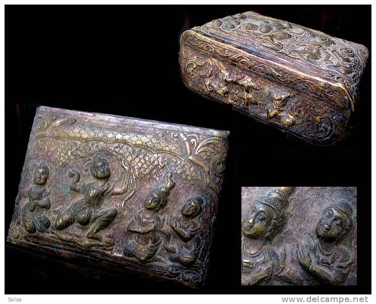 Boîte à Bétel Shan /Vintage Shan Bronze Nat Betel Box - Contenitori Di Tabacco (vuoti)