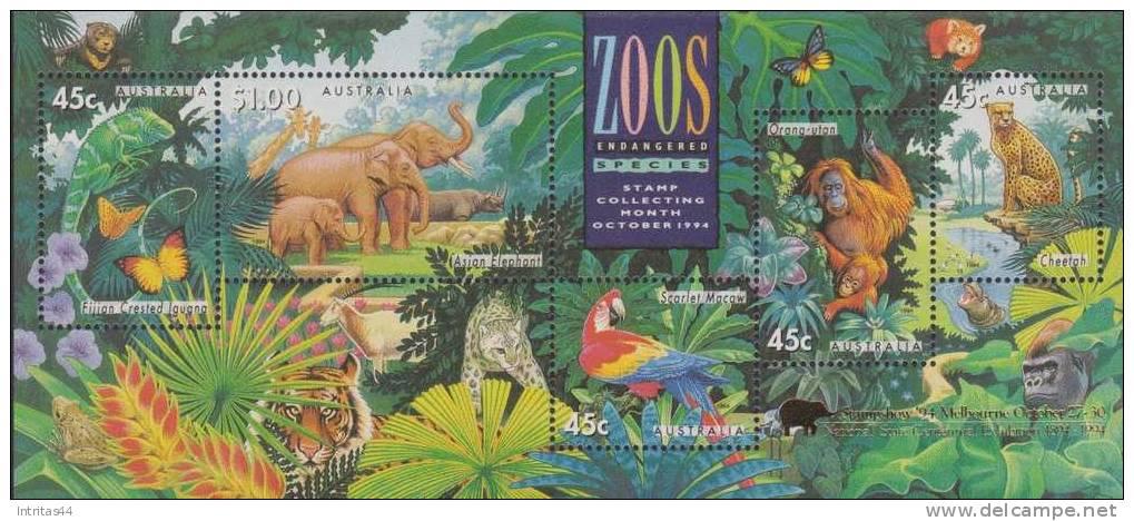 AUSTRALIA 1994 ZOOS ENDANGERED SPECIES SHEET OVP MELBOURNE **POST FRESH*** MNH - Sheets, Plate Blocks &  Multiples