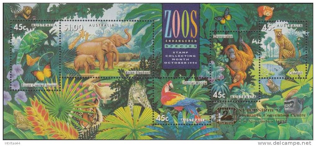AUSTRALIA 1994 ZOOS ENDANGERED SPECIES SHEET OVP FREMANTLE **POST FRESH*** MNH - Sheets, Plate Blocks &  Multiples