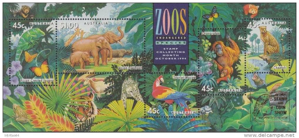 AUSTRALIA 1994 ZOOS ENDANGERED SPECIES SHEET OVP SYDNEY **POST FRESH*** MNH - Sheets, Plate Blocks &  Multiples