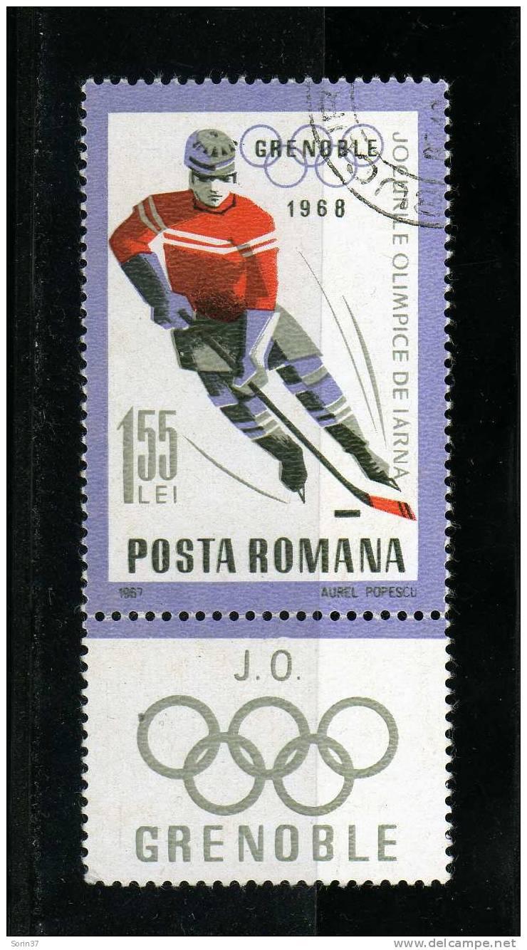 Sello De Romania Con Viñeta Año 1967  Usado - 1948-.... Repúblicas