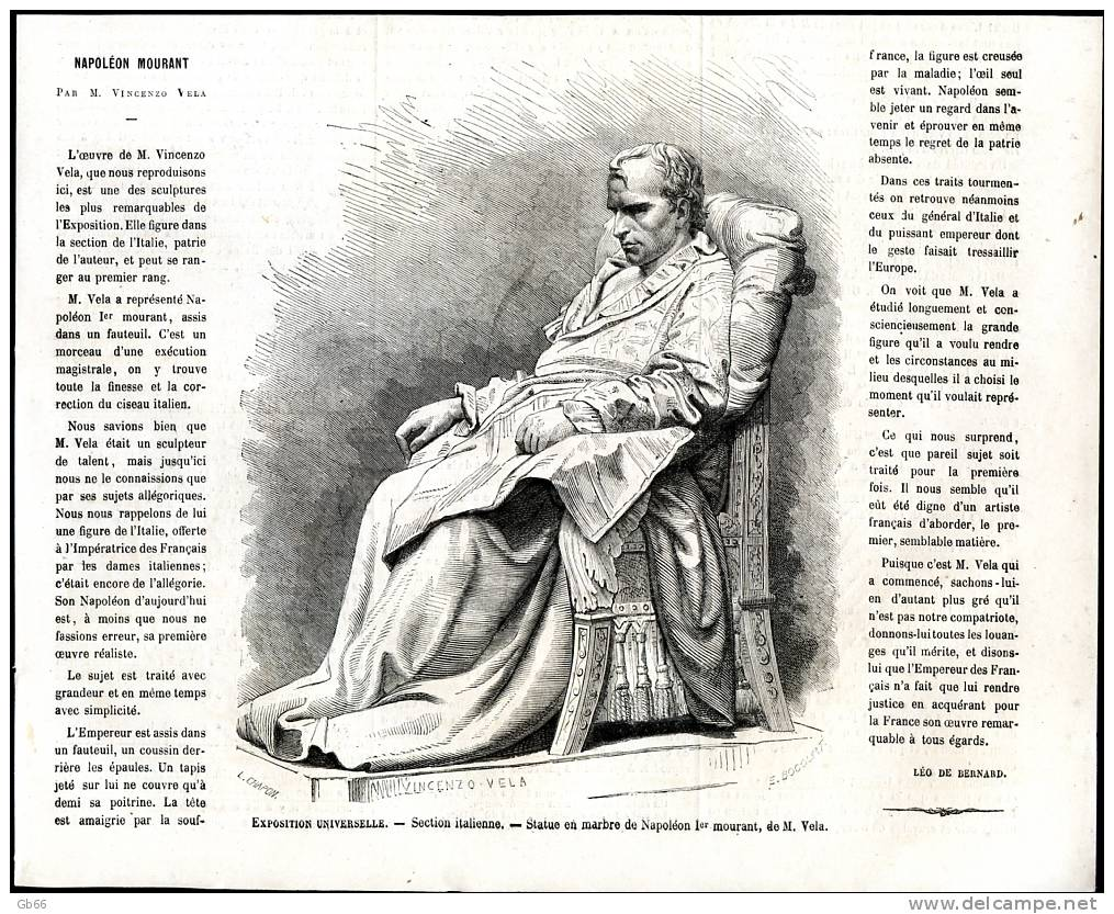 Napoléon Mourant, Statue En Marbre Par Vela                    Gravure      1867 - Old Paper