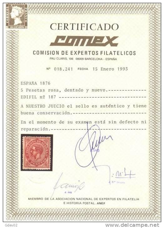 ES187-L2918.Espagne. Spain.ALFONSO Xll .1876.(Ed 187) . MUY BONITO.CERTIFICADO - 1875-1882 Reino: Alfonso XII