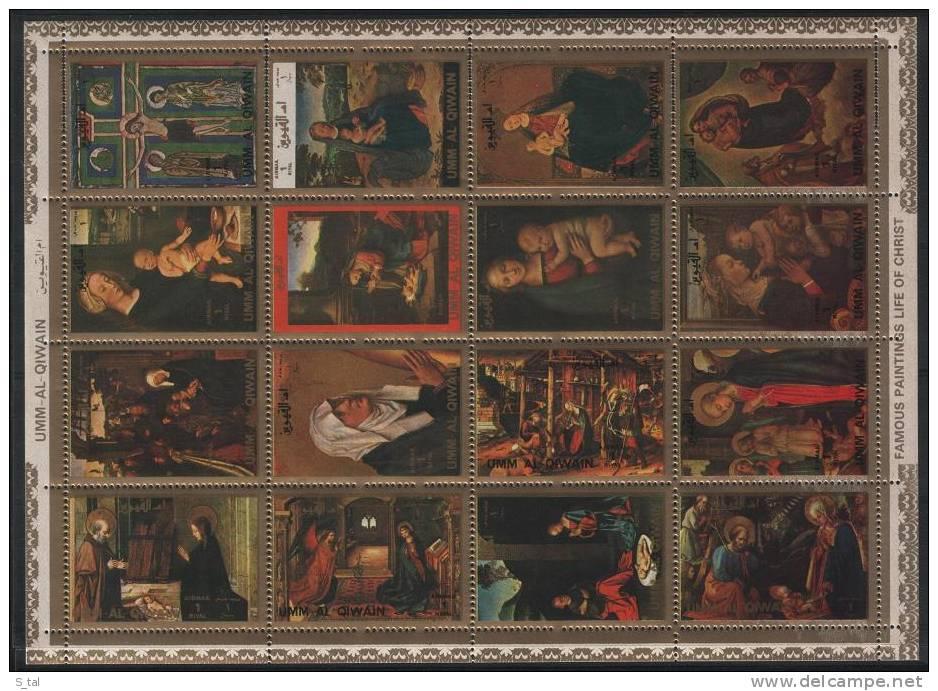 UMM Al QIWAIN  Painting(Tizian,Botticelli)  Sheetlet Ot 16 Stamps   MNH - Art