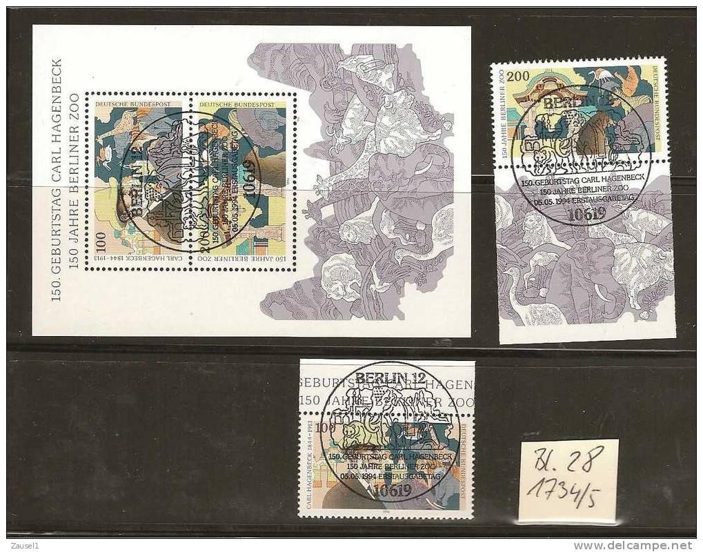 Karl Hagenbeck, 1994 Michel Nr. 1734  Ff .Block 28 Plus Einzelmarken Mit Ersttagsstempel - BRD