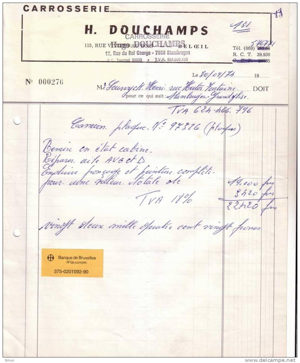 BELOEIL STAMBRUGES   H. DOUCHAMPS  Carrosserie   30.09.1974 - Non Classés