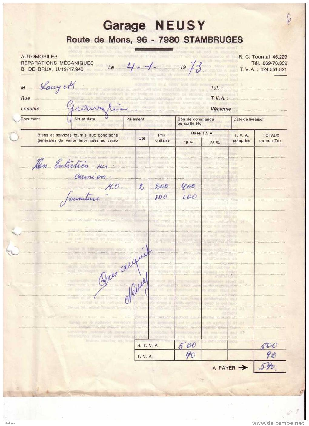 STAMBRUGES   GARAGE NEUSY   Automobiles Reparations Mecaniques ... 4.01.1973 - Belgique