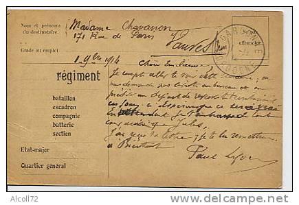 Carte : Franchise Militaire - Marcophilie (Lettres)